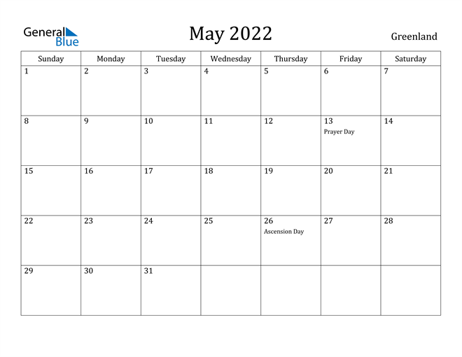 Image of May 2022 Greenland Calendar with Holidays Calendar