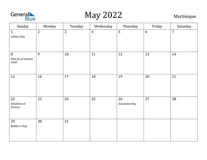 May 2022 Calendar Martinique