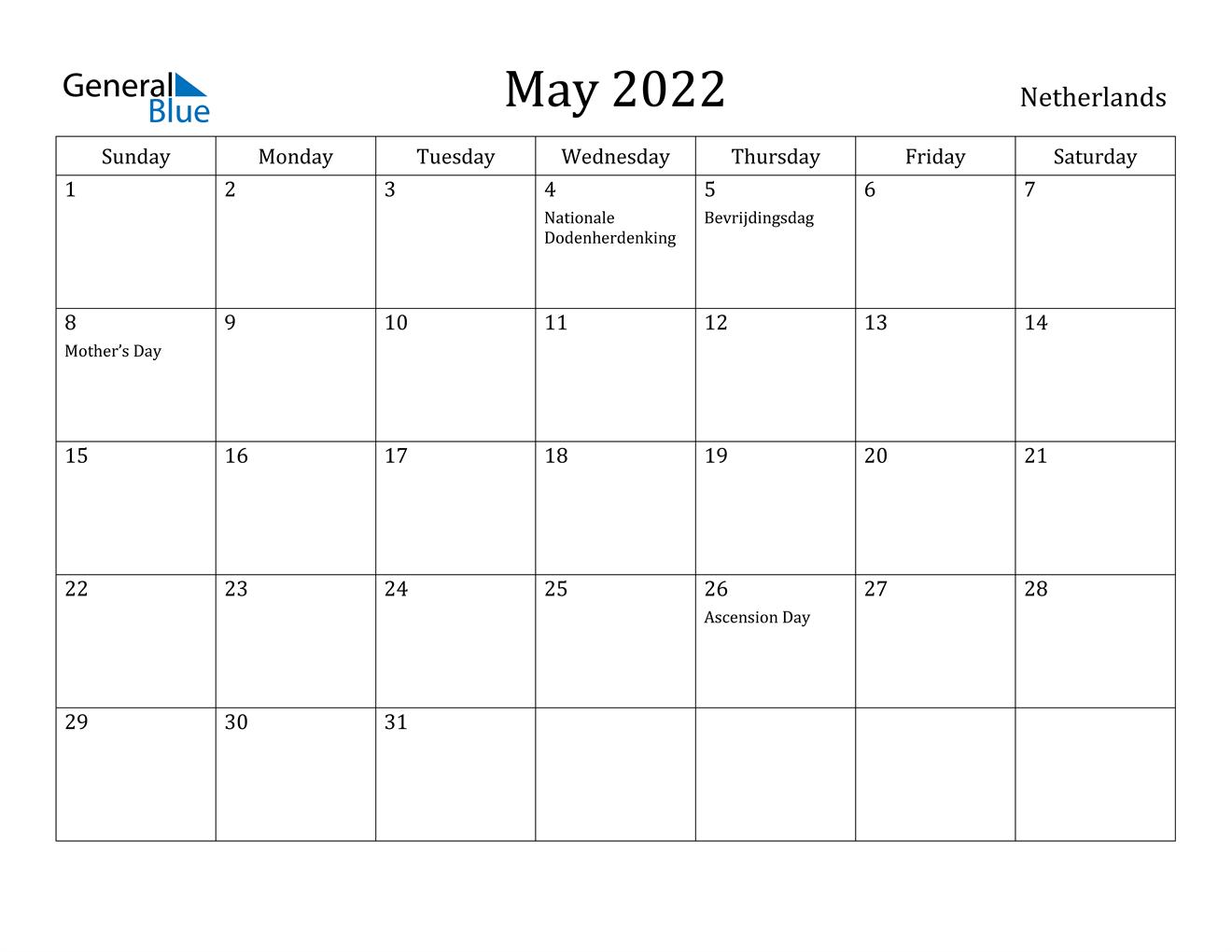 May 2022 Calendar - Netherlands