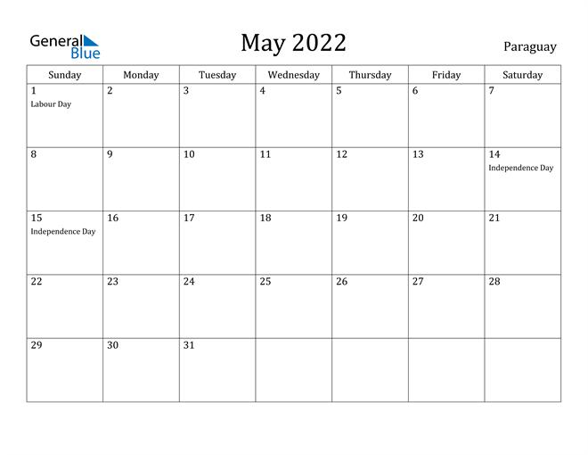 Image of May 2022 Paraguay Calendar with Holidays Calendar