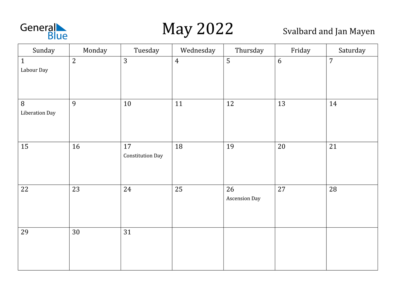 May 2022 Calendar - Svalbard and Jan Mayen