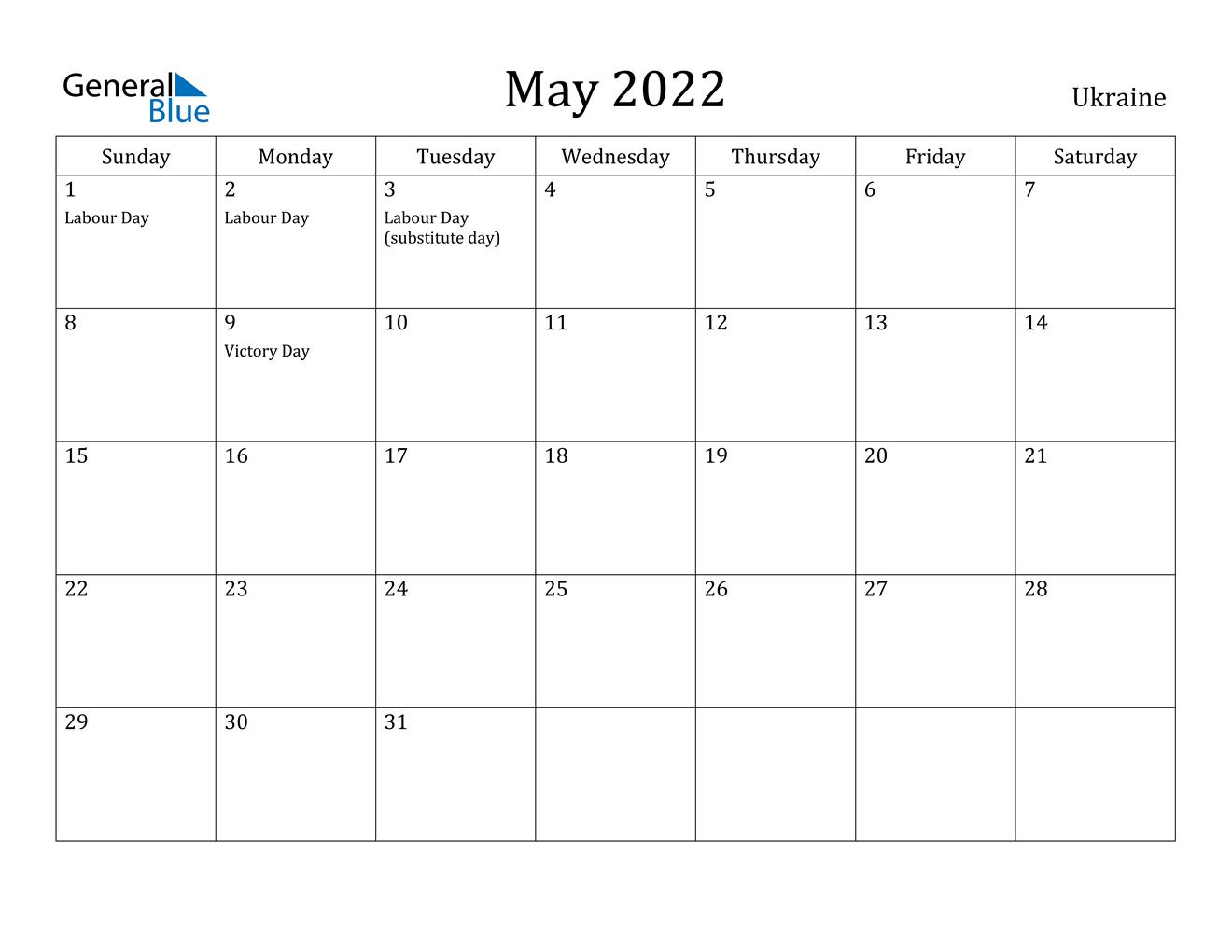 May 2022 Calendar - Ukraine