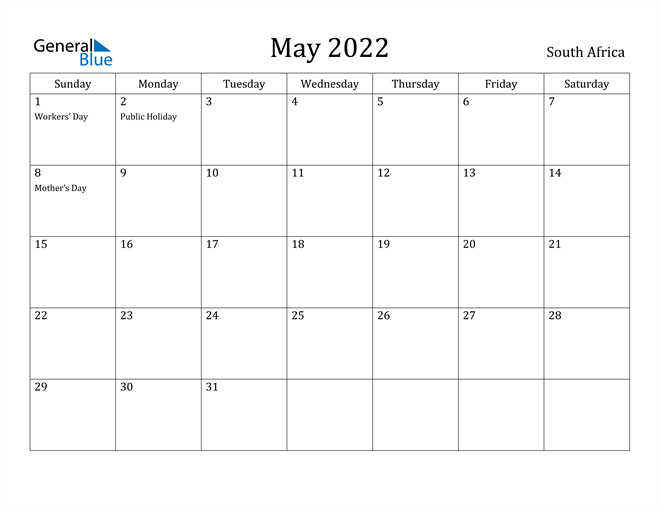 Image of May 2022 South Africa Calendar with Holidays Calendar