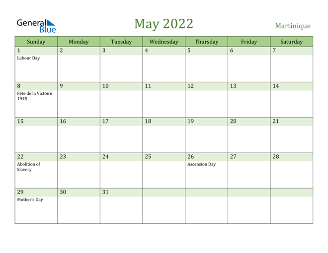 May 2022 Calendar with Martinique Holidays