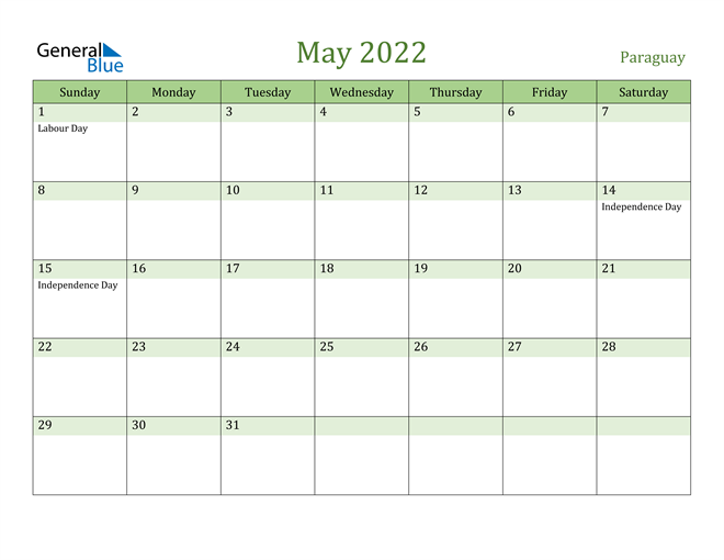Image of May 2022 Cool and Relaxing Green Calendar Calendar