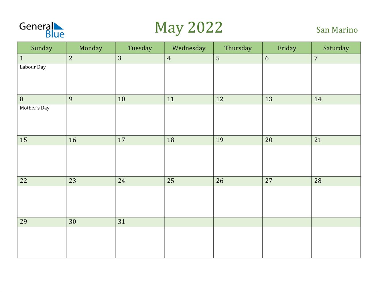 May 2022 Calendar - San Marino
