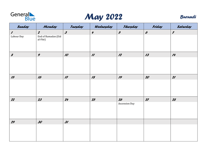 Image of May 2022 Italicized and Cool Blue, A Fun Calendar in PDF, Word and Excel Calendar