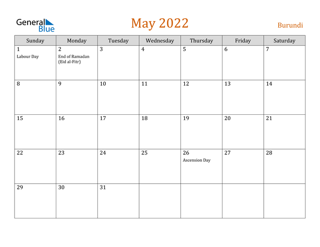 Image of May 2022 Contemporary Orange PDF, Word and Excel Calendar Calendar