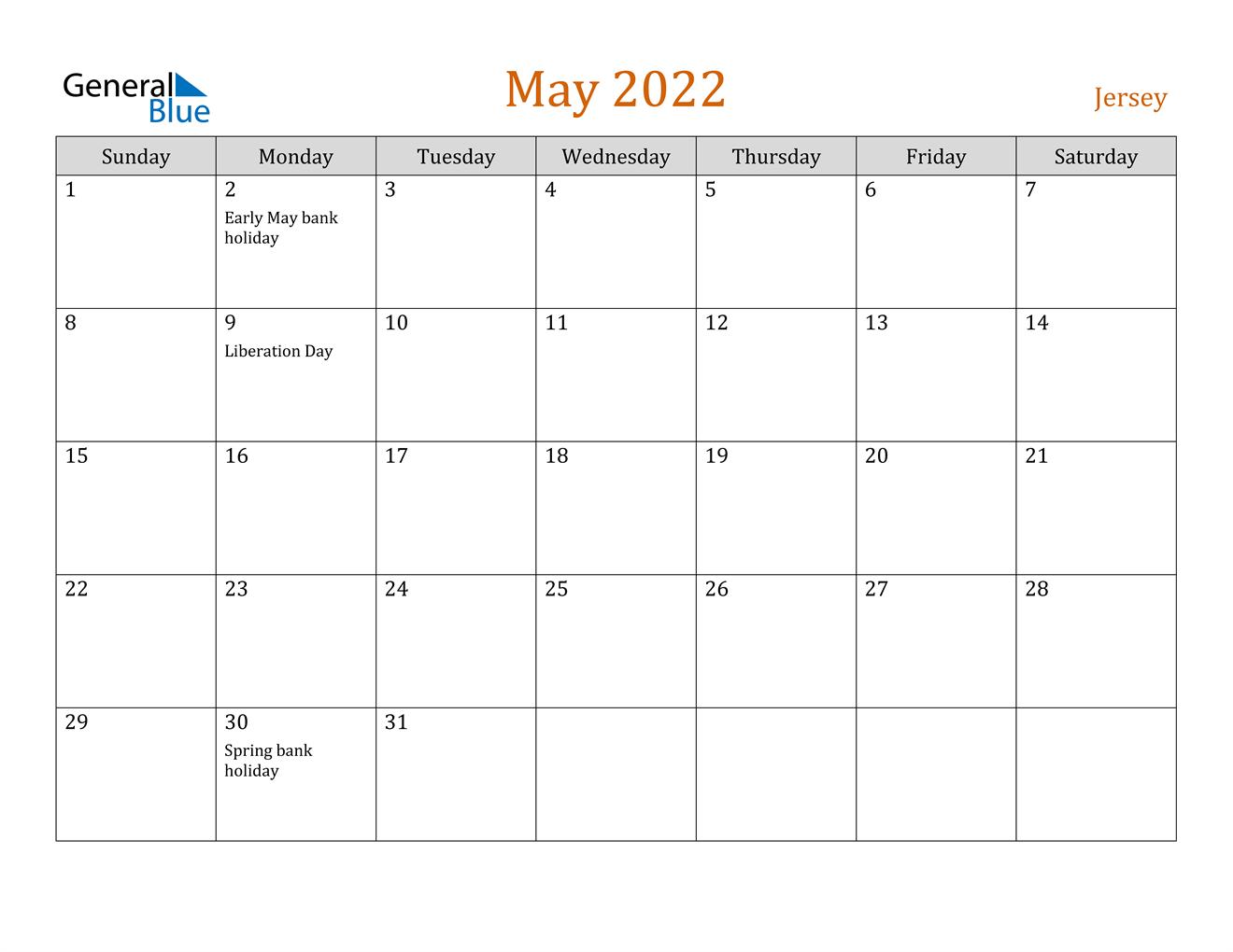 May 2022 Calendar Pdf.Jersey May 2022 Calendar With Holidays