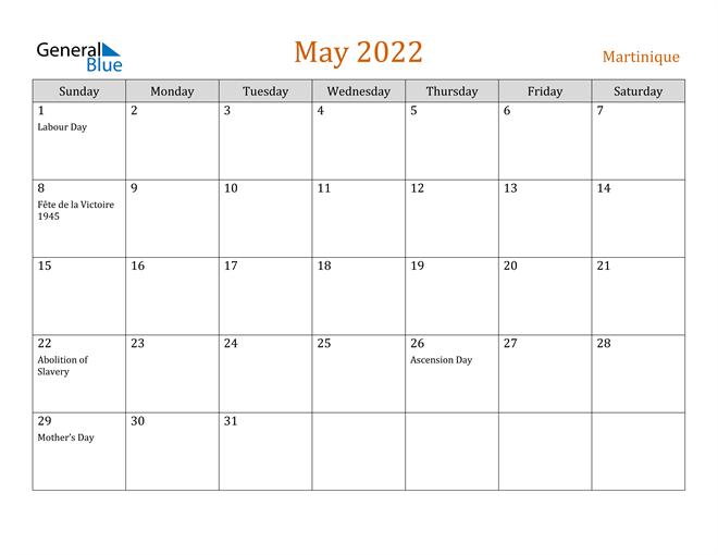 May 2022 Holiday Calendar