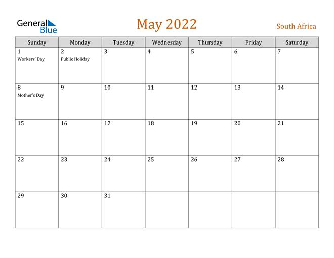 Image of May 2022 Contemporary Orange PDF, Word and Excel Calendar Calendar