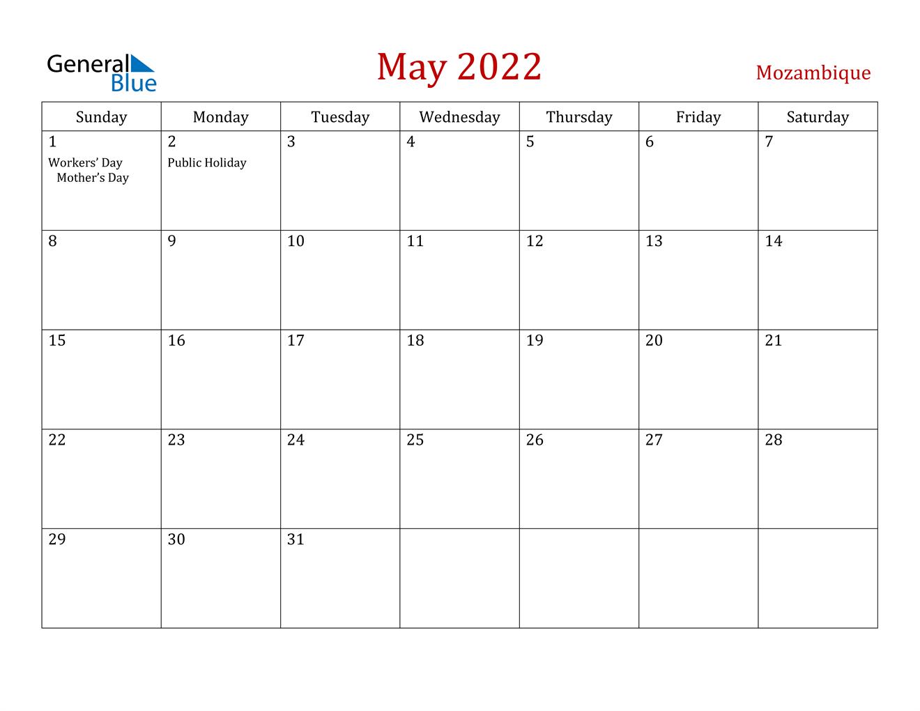 May 2022 Calendar - Mozambique