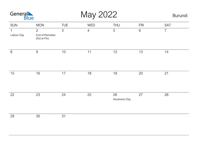 Image of May 2022 A Streamlined Design, The Perfect Printable Calendar. Calendar