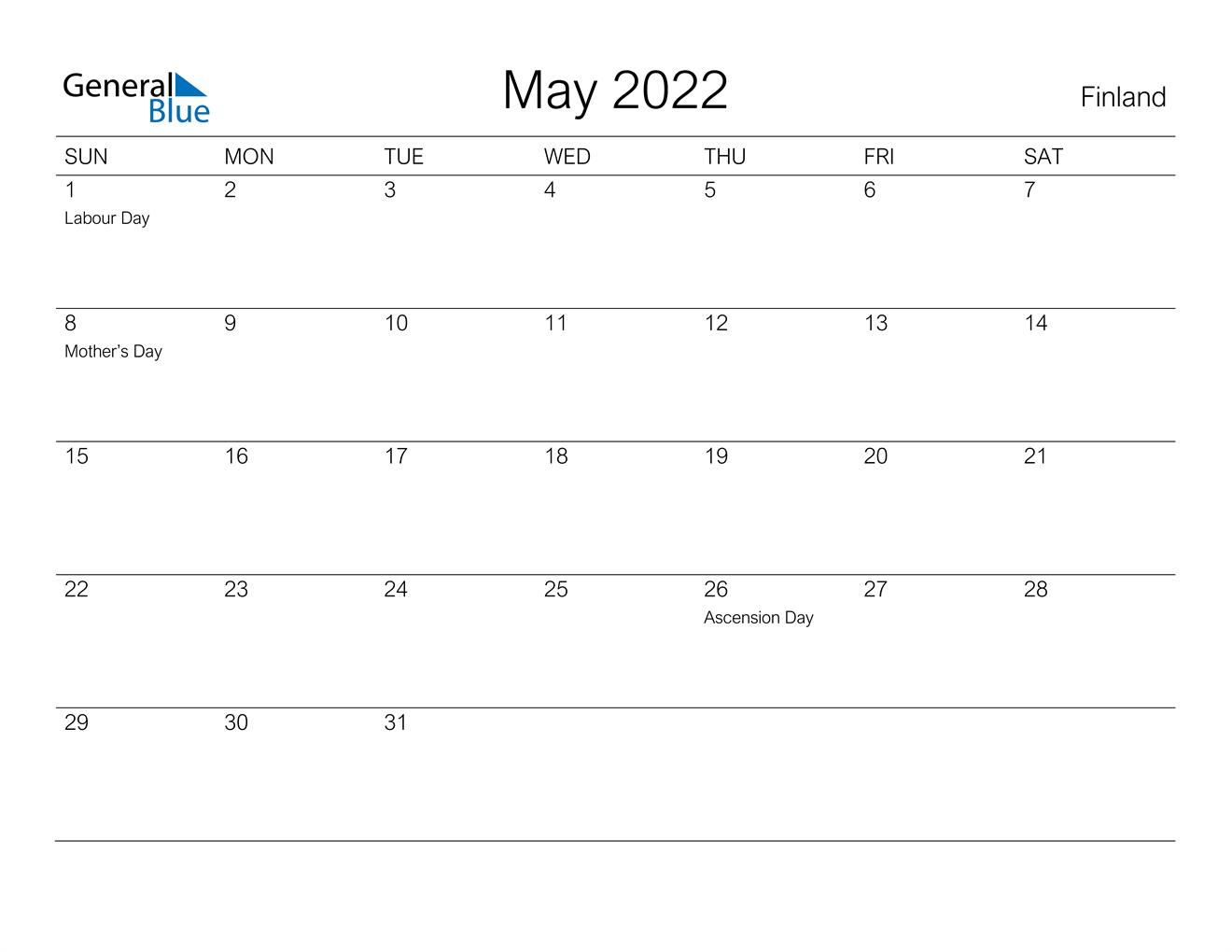 May 2022 Calendar - Finland