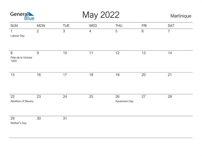 Printable May 2022 Calendar for Martinique