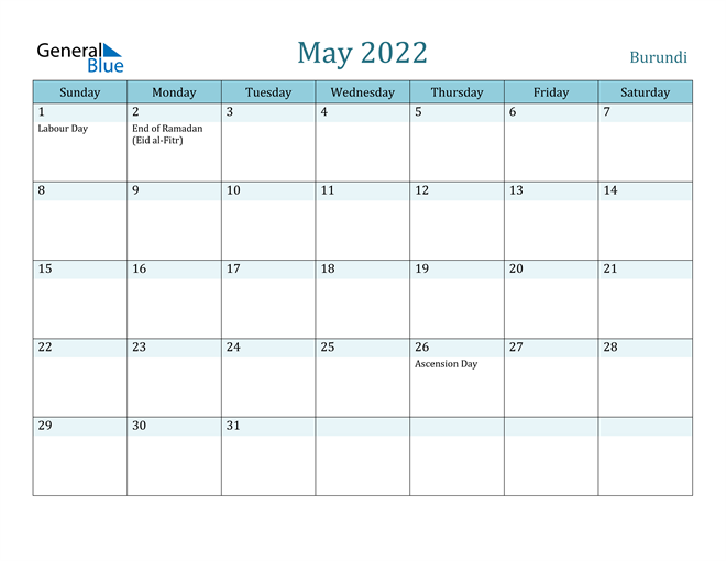 Image of May 2022 Colorful Turquoise Calendar in PDF, Word and Excel Calendar