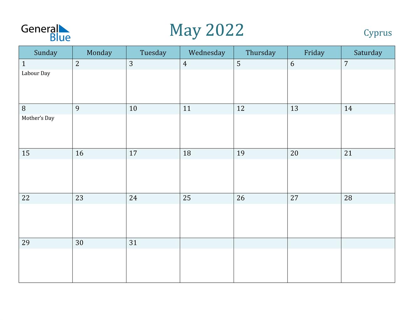 May 2022 Calendar - Cyprus