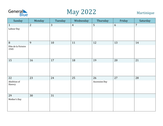 May 2022 Calendar with Holidays in PDF, Word, and Excel