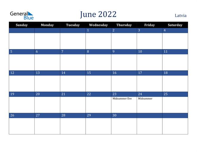 Image of June 2022 Stylish Dark Blue Calendar in PDF, Word and Excel Calendar