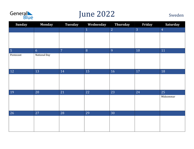 Image of June 2022 Stylish Dark Blue Calendar in PDF, Word and Excel Calendar