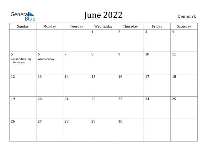 Image of June 2022 Denmark Calendar with Holidays Calendar