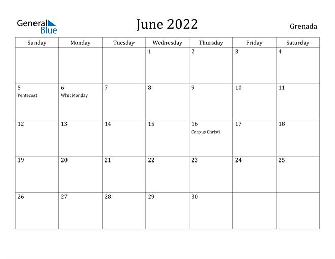 Image of June 2022 Grenada Calendar with Holidays Calendar
