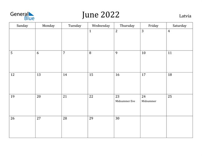 Image of June 2022 Latvia Calendar with Holidays Calendar