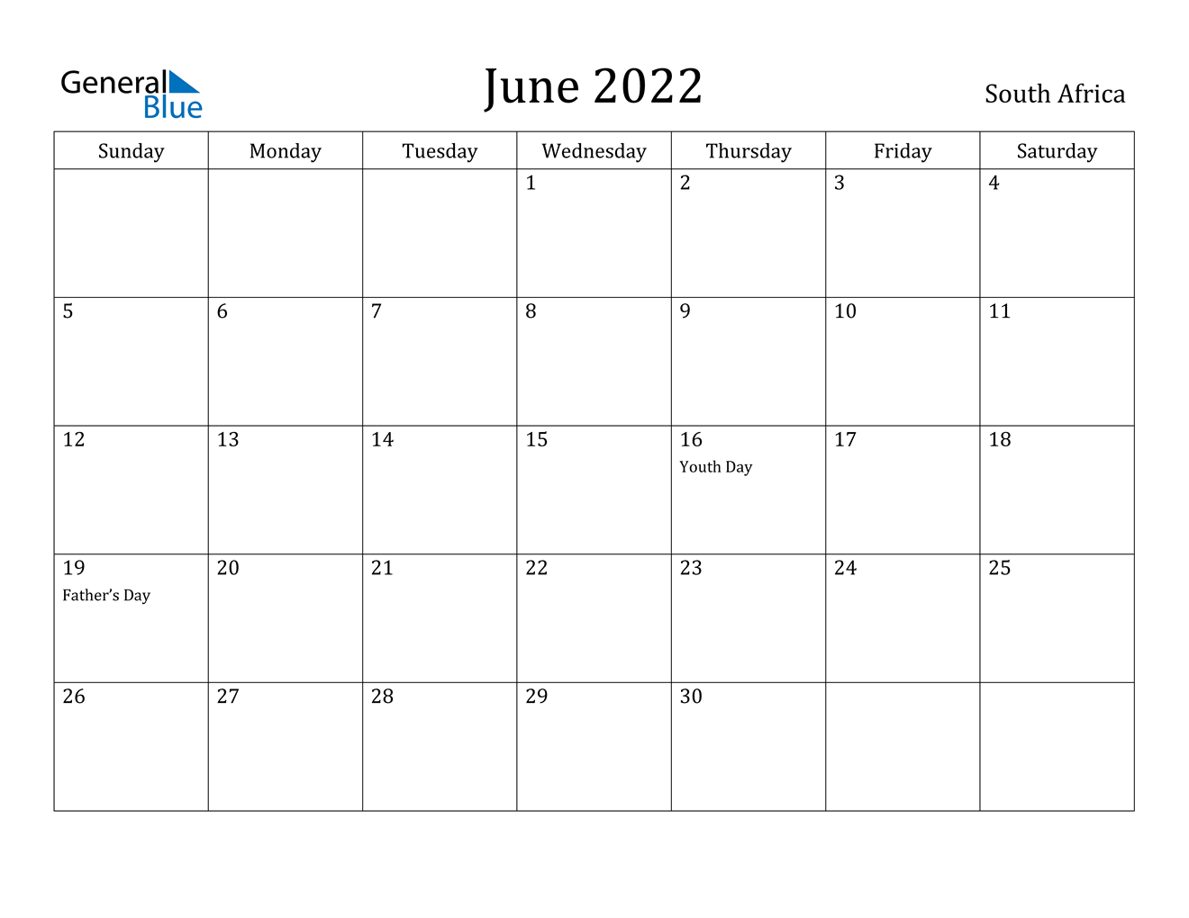 June 2022 Calendar With Holidays.South Africa June 2022 Calendar With Holidays