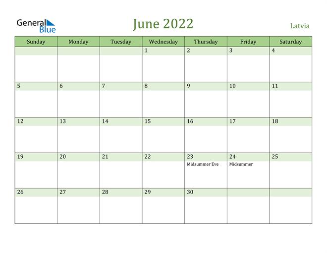 Image of June 2022 Cool and Relaxing Green Calendar Calendar