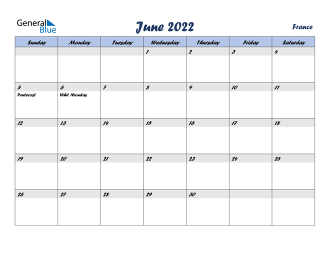 Image of June 2022 Italicized and Cool Blue, A Fun Calendar in PDF, Word and Excel Calendar