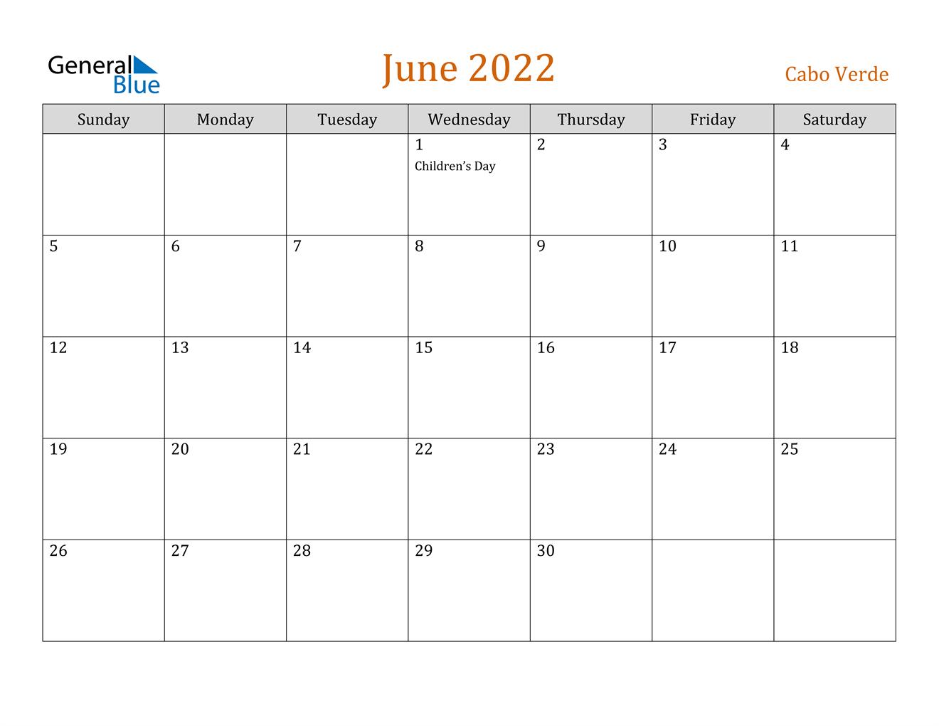 June 2022 Calendar - Cabo Verde