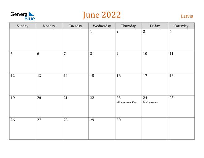 Image of June 2022 Contemporary Orange PDF, Word and Excel Calendar Calendar