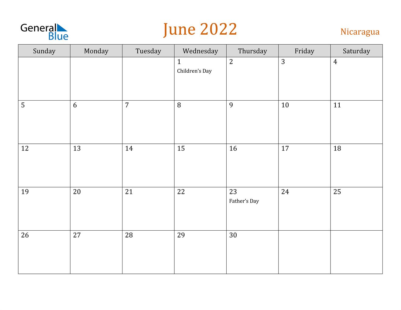 June 2022 Calendar - Nicaragua