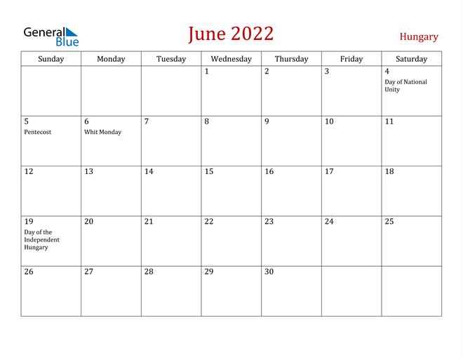 Calendar June 2022.Hungary June 2022 Calendar With Holidays