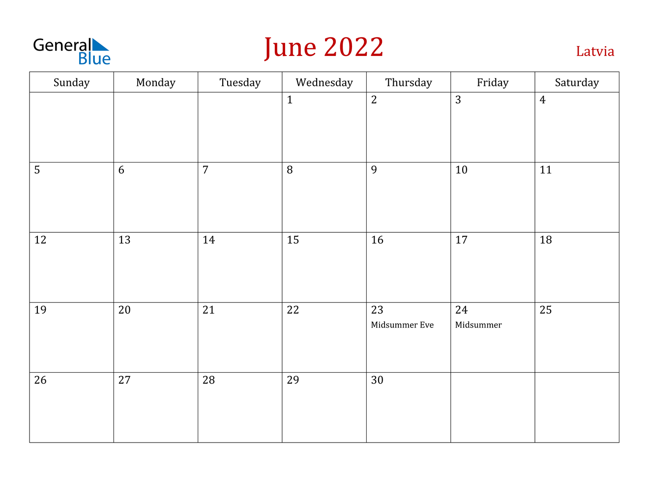 June 2022 Calendar - Latvia