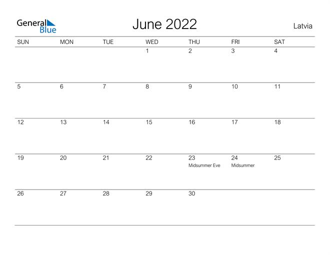 Image of June 2022 A Streamlined Design, The Perfect Printable Calendar. Calendar