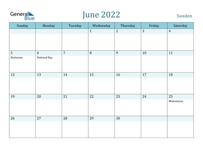 Image of June 2022 Colorful Turquoise Calendar in PDF, Word and Excel Calendar