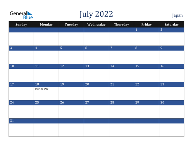 Japan July 2022 Calendar With Holidays