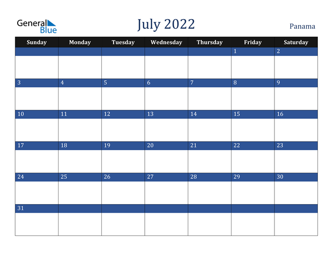 Image of July 2022 Stylish Dark Blue Calendar in PDF, Word and Excel Calendar