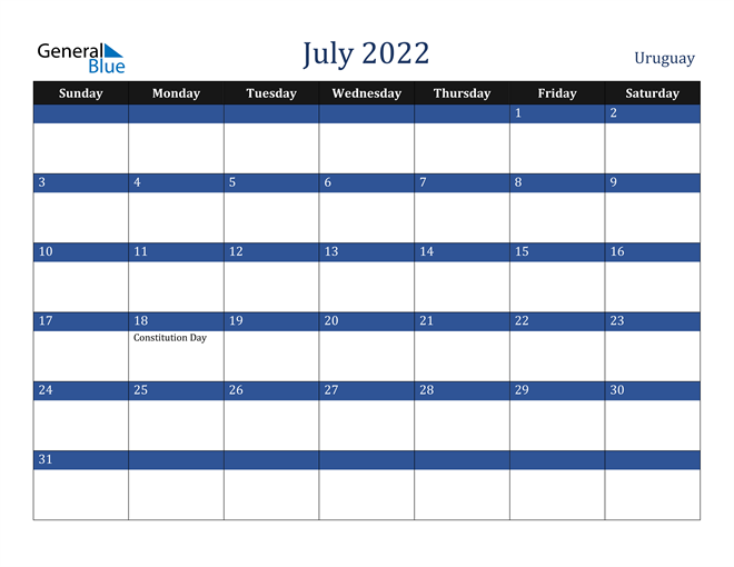 Image of July 2022 Stylish Dark Blue Calendar in PDF, Word and Excel Calendar