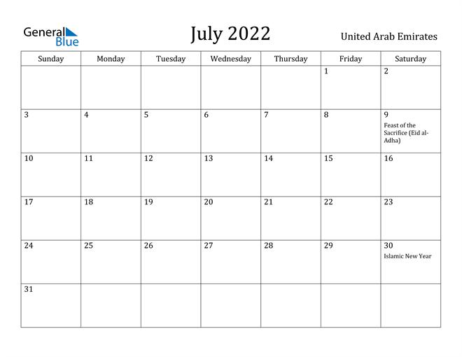 Image of July 2022 United Arab Emirates Calendar with Holidays Calendar