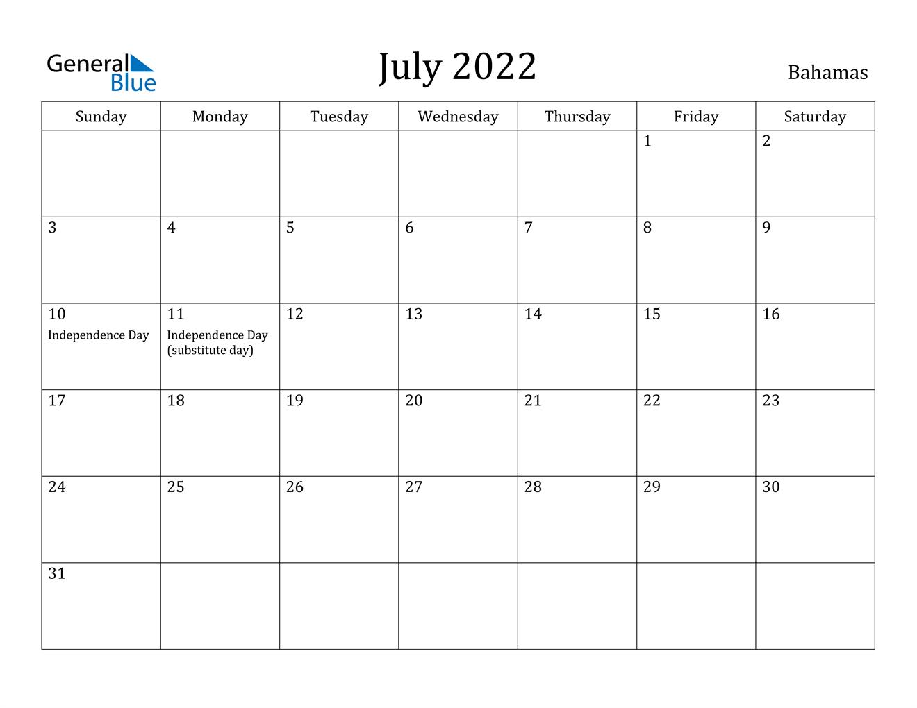 Calendar 2022 July.Bahamas July 2022 Calendar With Holidays
