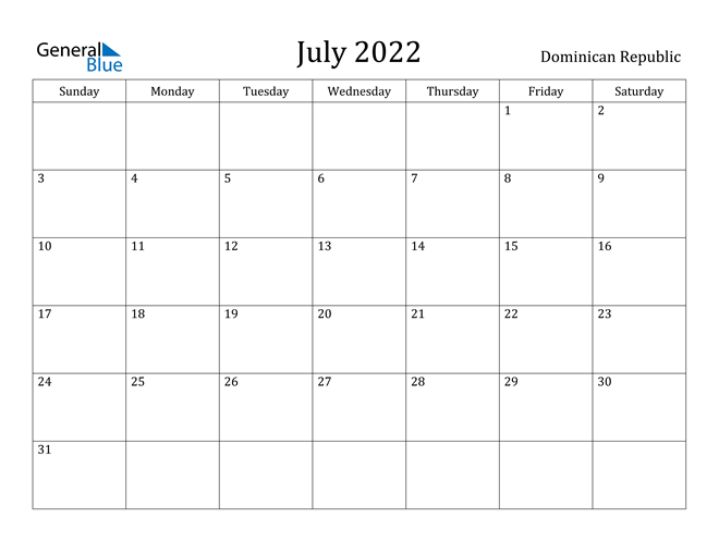 Image of July 2022 Dominican Republic Calendar with Holidays Calendar