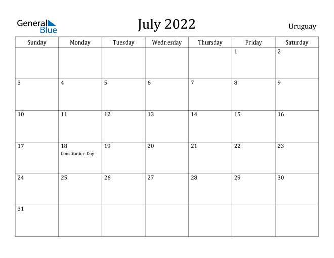 Image of July 2022 Uruguay Calendar with Holidays Calendar
