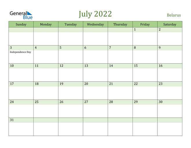 July 2022 Calendar with Belarus Holidays