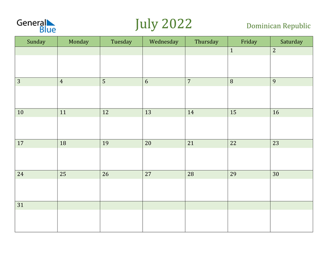 Image of July 2022 Cool and Relaxing Green Calendar Calendar