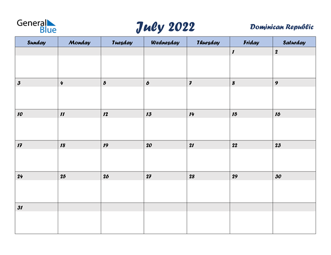 Image of July 2022 Italicized and Cool Blue, A Fun Calendar in PDF, Word and Excel Calendar