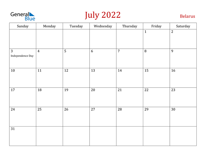 Belarus July 2022 Calendar