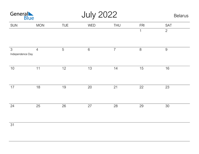 Printable July 2022 Calendar for Belarus