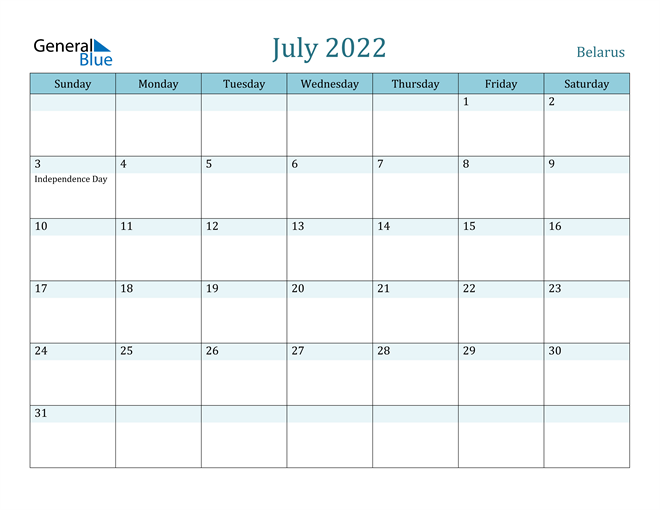 July 2022 Calendar with Holidays in PDF, Word, and Excel